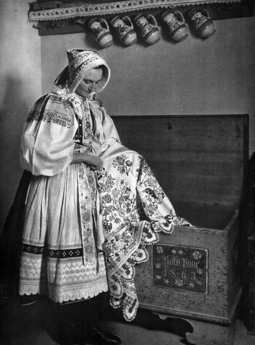 Woman wearing traditional costume,Viničné, Slovakia