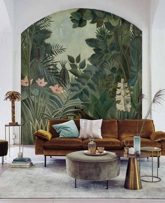 Jungle Wallpaper Mural Removable Peel & Stick Wallpaper Rousseau, Jungle Wall Mural Wallpaper Green Nursery Wallpaper Remove Wall Paper #114