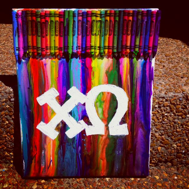 Chi O crayon art.  Maybe just melt red and yellow?