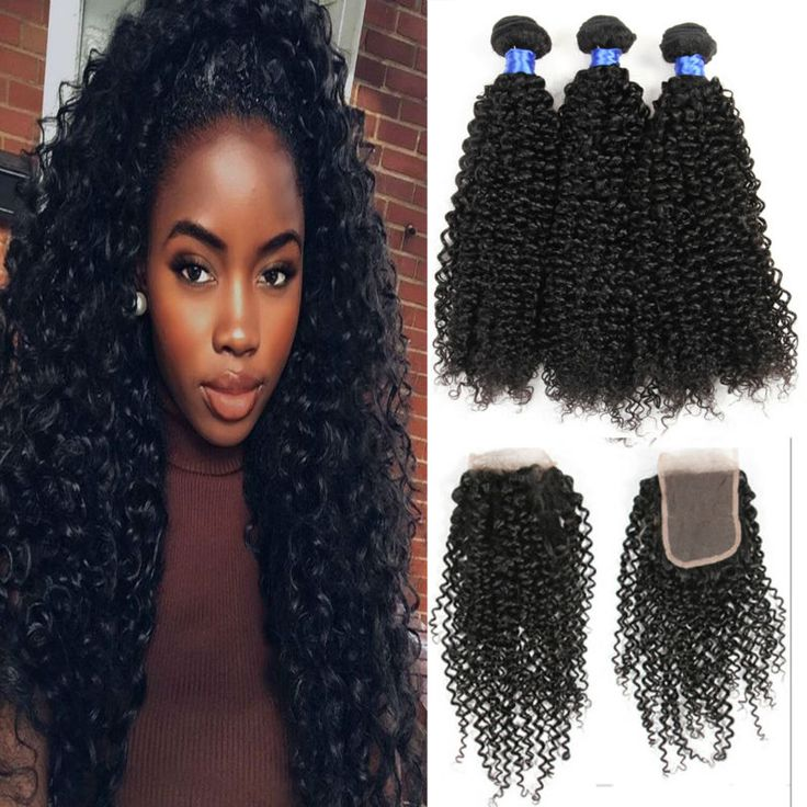 8A Brazilian kinky Curly With Closure 3 Bundles Brazilian kinky Curly  Weave With Lace Closure Cheap Kinky Curly Human Hair Weft