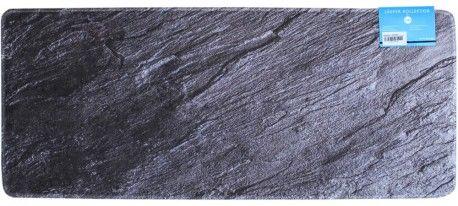 Küchenläufer Teppichläufer schwarzer Schiefer Schieferplatte 50x120 cm waschbar
