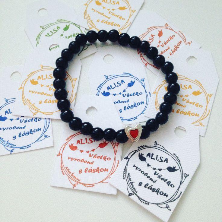 Black pearlbeads heart bracelet