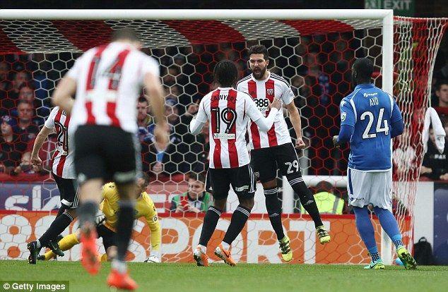 Yoann Barbet of Brentford celebrates after scoring his sides first goal