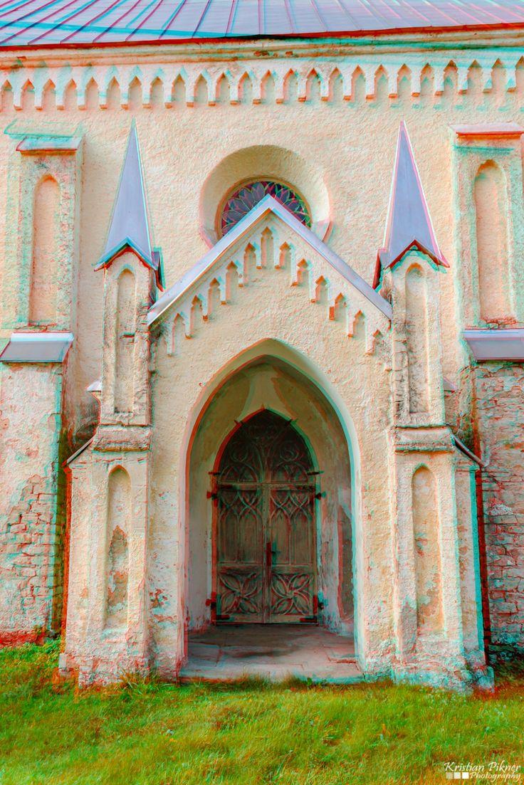 Lihula church 3D Anaglyph photo (Red-Cyan)