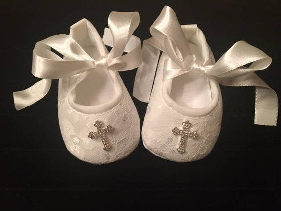 d0405d3a4f5ff Light Ivory Off White Lace Baby Christening Shoes - Baby Girl ...