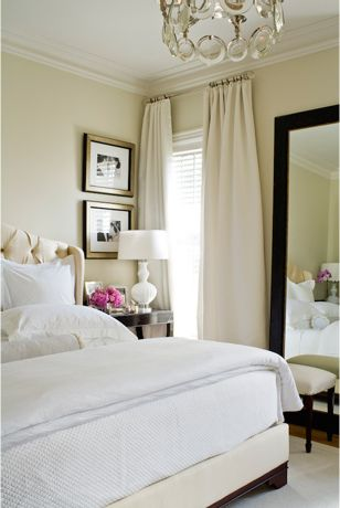 This is how our beige bed would look with white bedding.