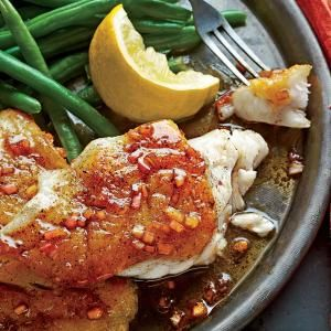 Pan-Seared Grouper with Balsamic Brown Butter Sauce | MyRecipes.com. SEARING IS BEST FOR: Nearly any type of fish, but is easiest with firm fillets that are at least 1 1/2 inches thick, such as grouper, halibut, sea bass, and striped bass.