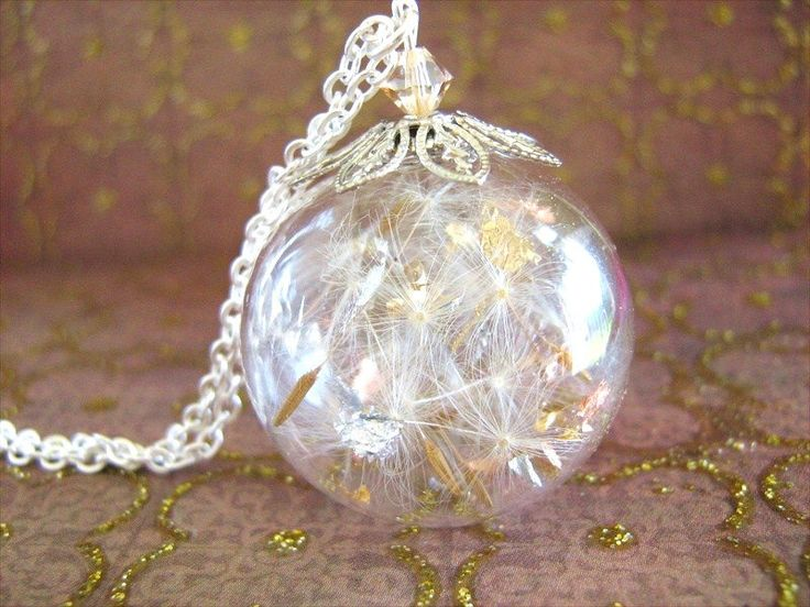 Dandelion Necklace, Make a Wish, Globe Necklace, Real Gold and Silver Leaf, Dandelion Seed Globe by SeaMeadowDesigns on Etsy https://www.etsy.com/listing/117001471/dandelion-necklace-make-a-wish-globe