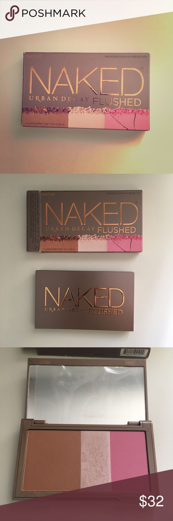 Urban Decay Naked Flushed Blush Highlighter Bronze Urban Decay Blush/Highlighter/Bronzer  Naked/Flushed Palette New in box never used Box has some tiny signs of wear (see photos) but item itself is in perfect condition Plastic cover on mirror is still intact Urban Decay Makeup