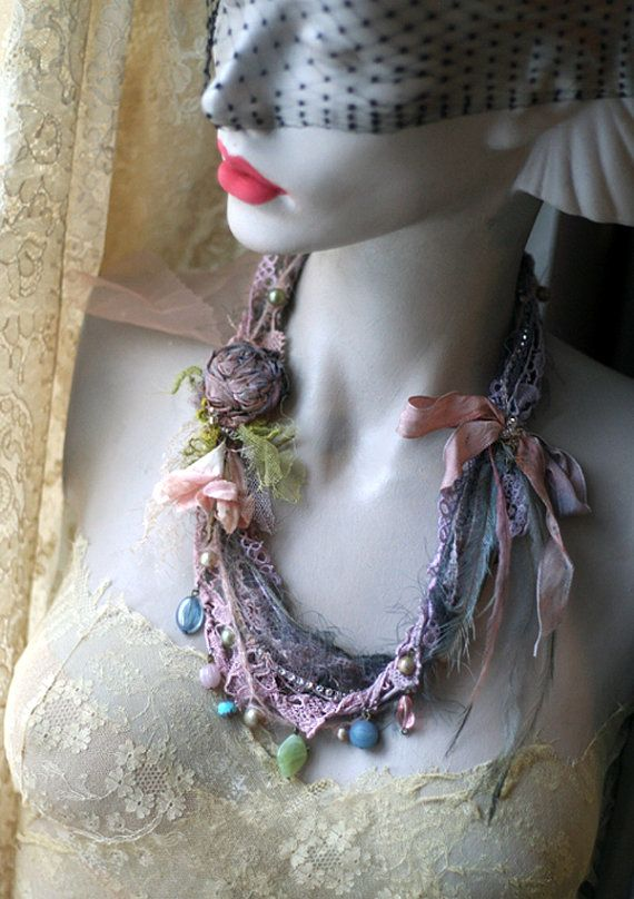 shabby chic soft braided necklace from antique by FleurBonheur