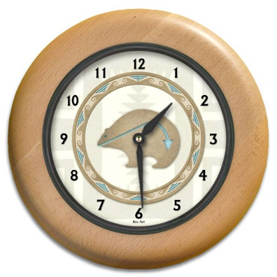 Bear Totem Round Wood Wall Clock - From our Southwestern Clocks category, this clock features art work showing a traditional Native American bear fetish symbol.  $63.00