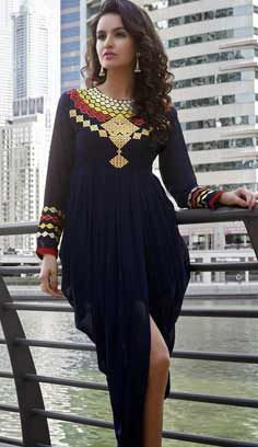 Beautiful Latest Navy Blue Faux Georgette Kurti