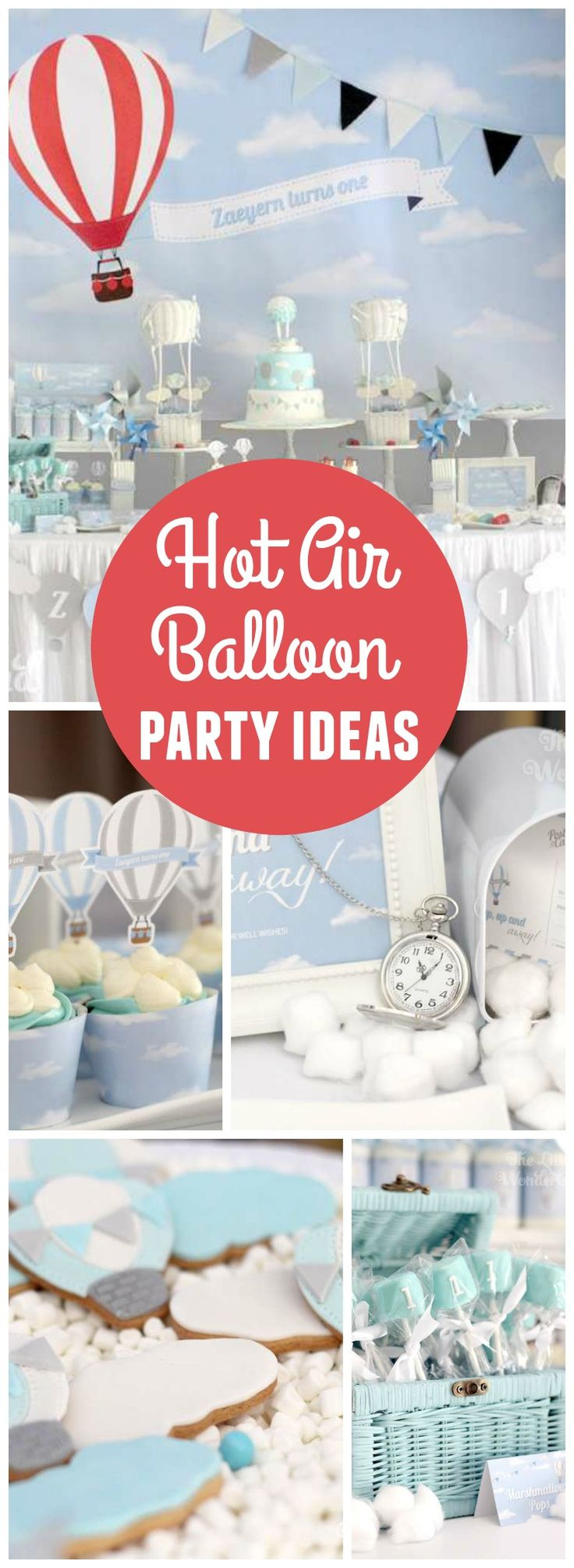 Love this wonderful hot air balloon party in white, blue, silver and red! See more party ideas at CatchMyParty.com!