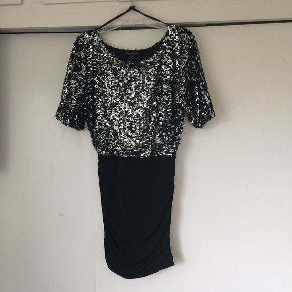 ‼️SALE‼️ Sparkle Bodycon Dress Sparkle Black and Silver Bodycon Dress; size M. Only worn once; perfect condition. Make me an offer! Dresses