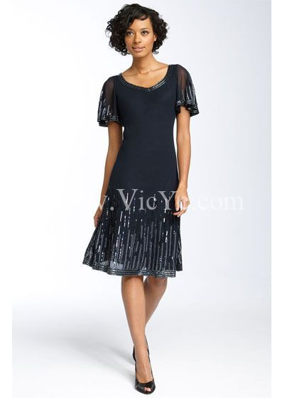 Elegant Summer Dark Blue Mother of the Bride Dress, Summer Mother of The Bride Dresses - Vicyc.com