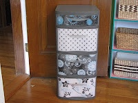 Simply Living: Plastic Drawer Mini-facelift using Mod Podge [I have one of these plastic cabinets and I never would have thought about doing this!]