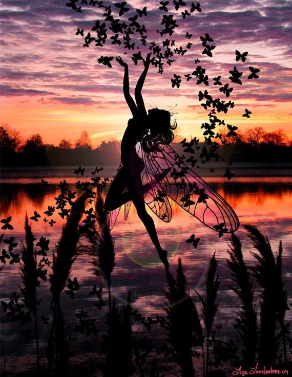 Fairy Silhouette Dancing with Butterflies