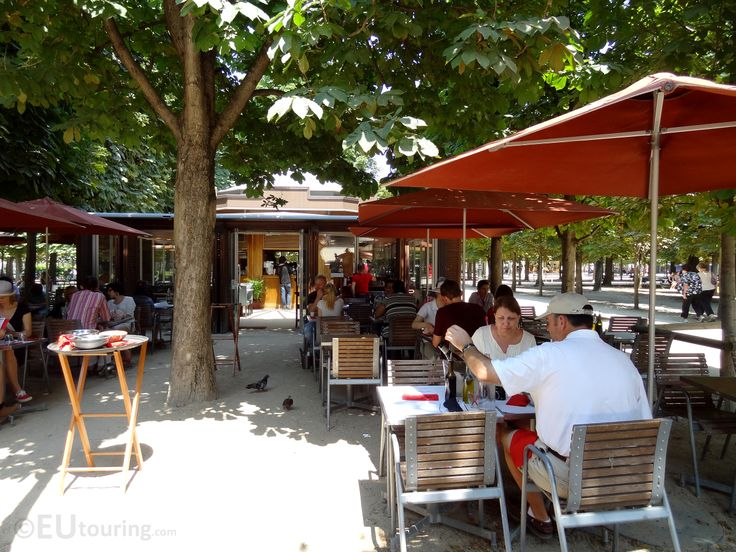 There are many cafes to find while in Paris and the Tuileries Gardens are no exception, this photo showing one of the cafes that is within the shade thanks to many trees to create a cool and relaxing area to sit down and have some food.  Daily updates at www.eutouring.com