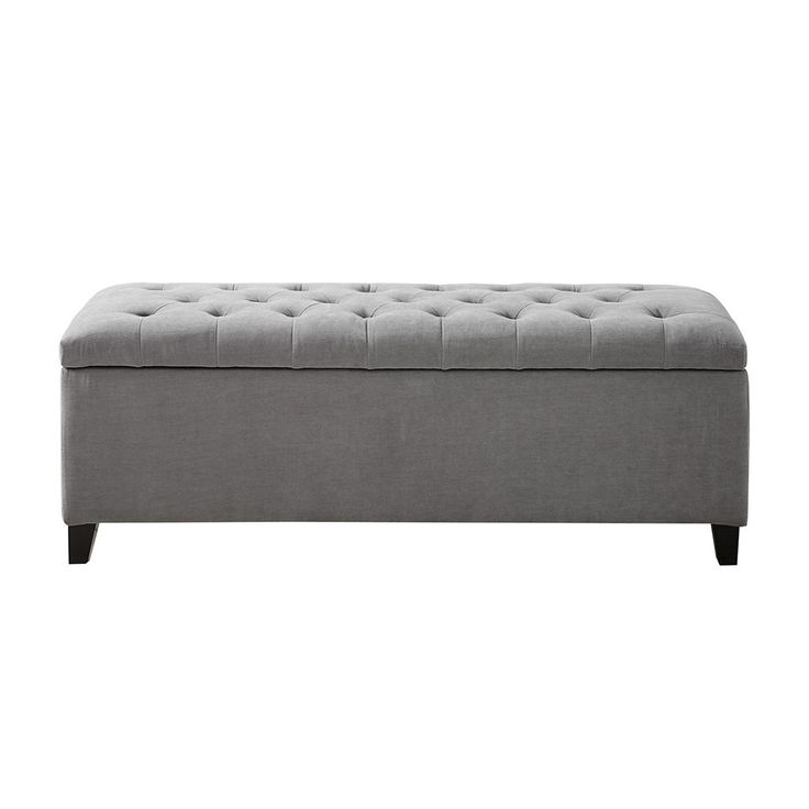 Features:  -Interior storage.  -Button tufted detailing.  Design: -Standard.  Upholstery Color: -Grey.  Finish: -Black Noir.  Upholstery Material: -Polyester/Polyester blend.  Frame Material: -Wood. D