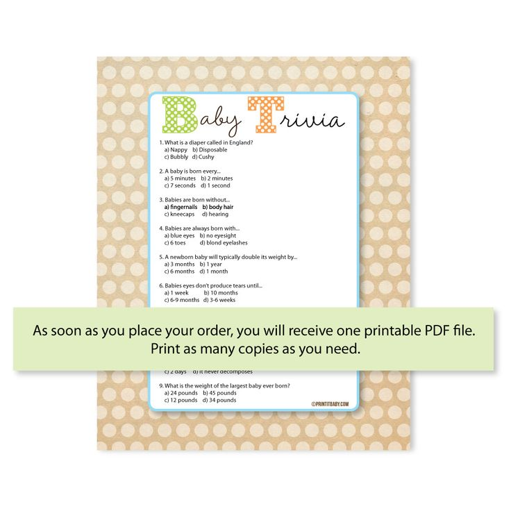 Popular Baby Shower Trivia Games