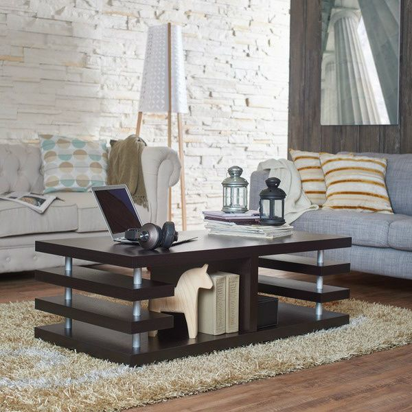 Dark Espresso Coffee Table With Storage Modern Living Room Furniture Book  Drinks Part 86