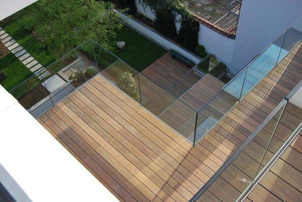 Houten terras glas huis pinterest - Deco houten trap ...