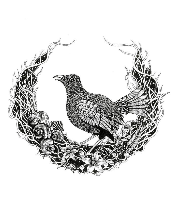 Kunst plakat // Art print // 'The Bowerbird'by Ida Svenungsson