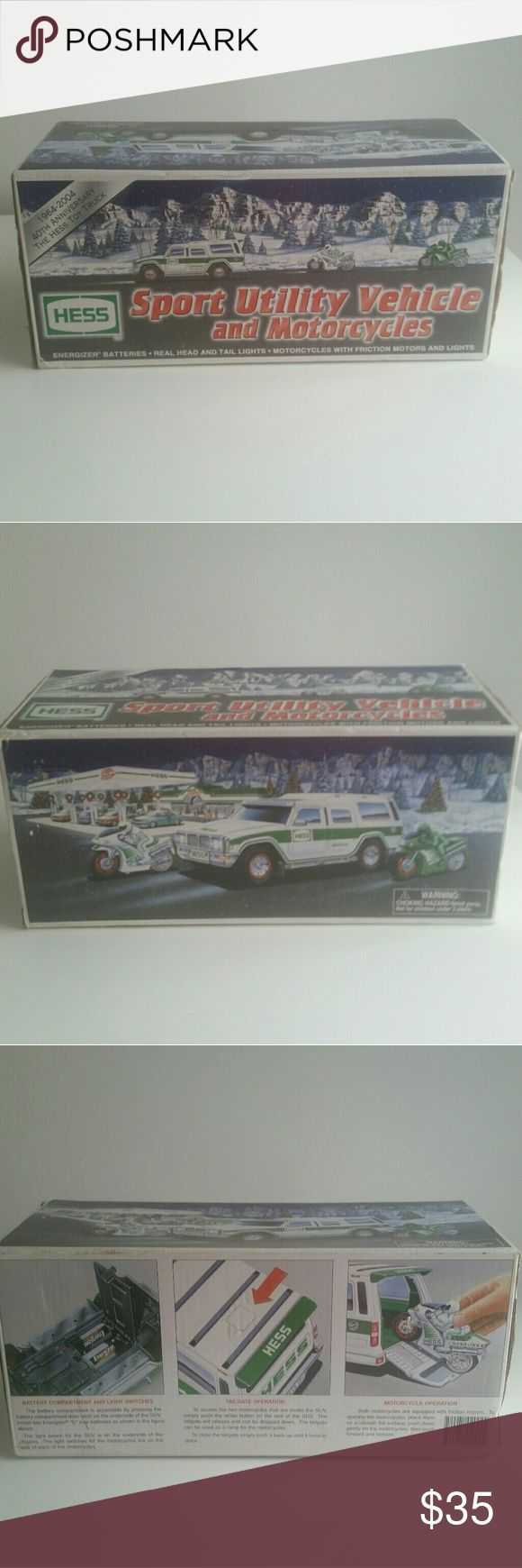 2004 Hess Collectible Toy Truck New in original box! 2004 Hess Sport Utility Vehicle and Motorcycles. The 2004 Hess toy truck featured a forty year celebration of the toy line, showcasing the first Sport Utility Vehicle and Motorcycles for the fleet! This was the first SUV as the primary vehicle and first vehicle to sport shock absorbers with all-terrain. Another first - two motorcycles included with realistic and working lights activated by a switch on the right handlebar! Batteries not…