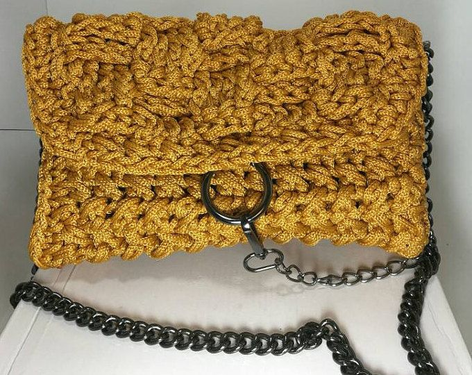 Women's Yellow Shoulder Handbag with Black Nickel Details/ Knitted /Crochet