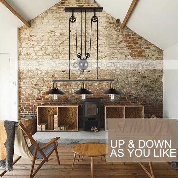 Vintage Industrial Chandelier Cord Loft UP DOWN Ceiling Pendant Light Fitting
