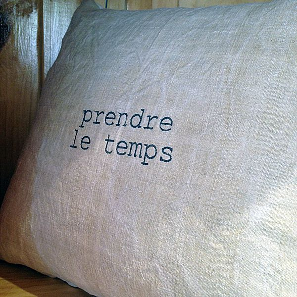 "Image of Coussin lin ancien ""texte"""