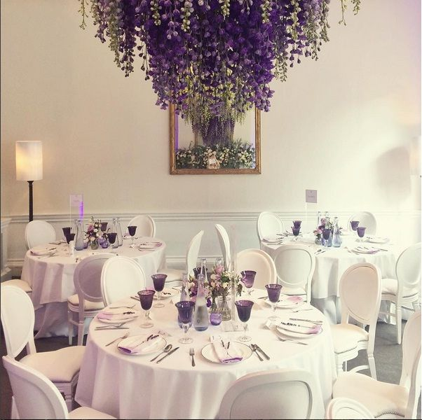 Flower Chandelier With Purple Hues Wedding VenuesWedding