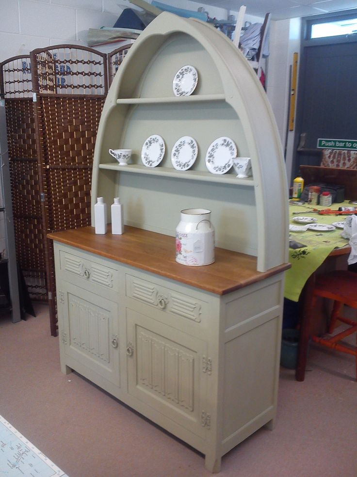 Solid oak dresser painted in Kiwi.