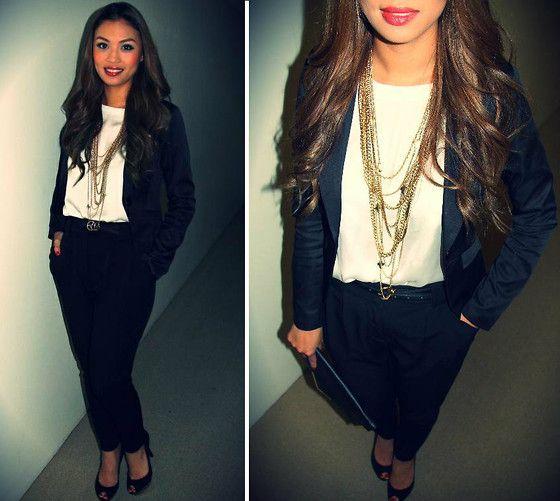 Zara Heels, Crepe Pants, Gold Chain Necklace, Jacket, Satin Top