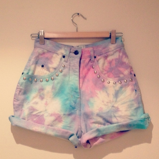 Pastel tie dye high waisted vintage studded denim shorts