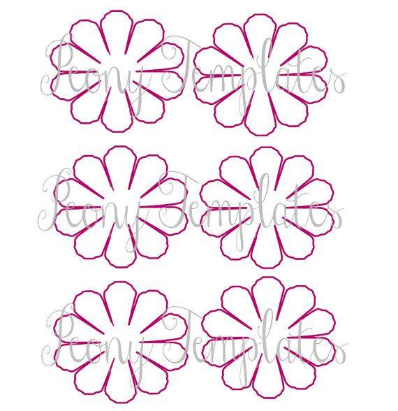 Paper flower printable templates diy peony paper flowers pdf printable flower templates diy for Diy paper flower template