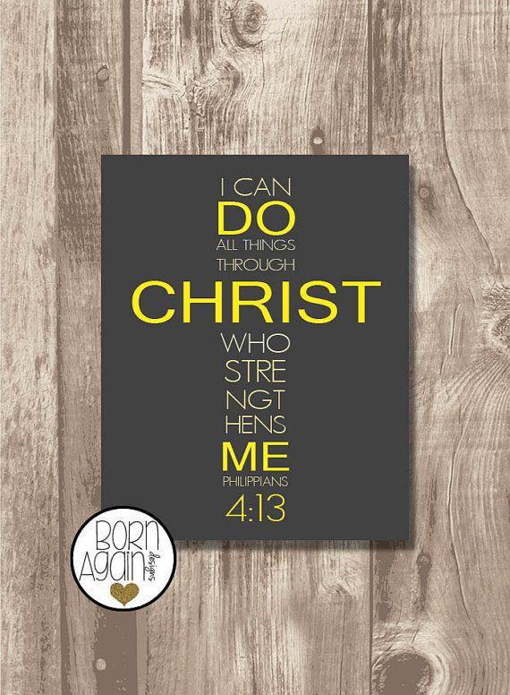 Printable Bible Verse Philippians 4:13 by BornAgainDesignsUSA