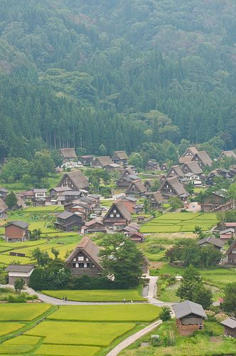 Shirakawa-go Village, Japan with its thatched roof houses is  a UNESCO World Heritage site.