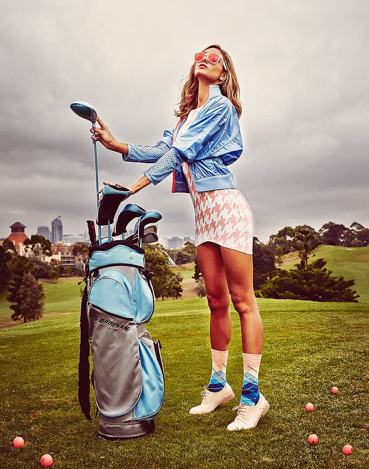 GAME ON golf // brosnan // golfworld //  optima // vanishing elephant // misguided // herringbone // happy sicks // stella mccartney // addidas // oakley // blue // golf bag
