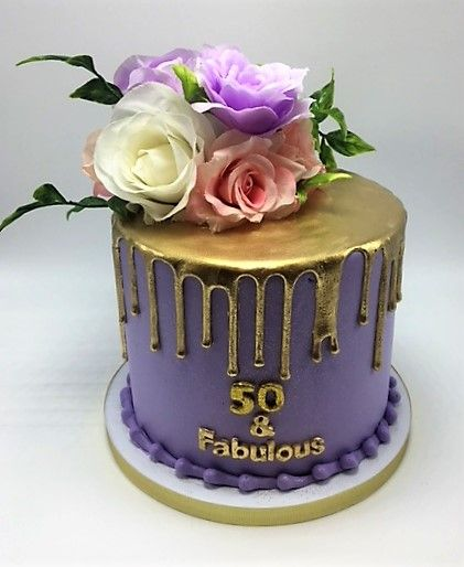 Elegant Purple 50 Fabulous Birthday Cake With Gold Drip By Flavor Cupcakery