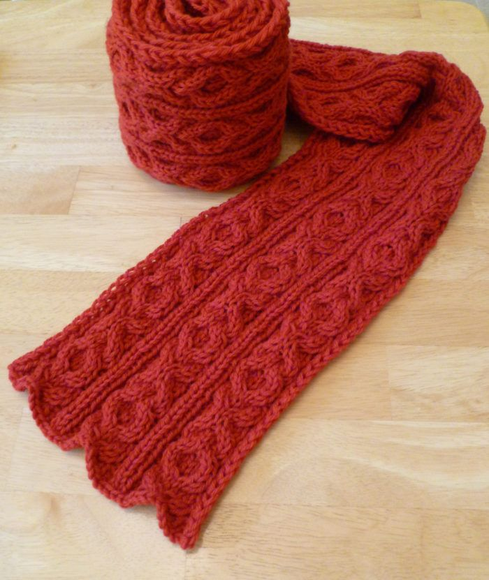 Free Knitting Pattern for Besotted Scarf - Scarf with a XOXO hugs and kisses cable design. Worsted weight yarn. Designed by Adrian Bizilia of Hello Yarn who says this is a great beginner cable pattern. Pictured project byMonica-K
