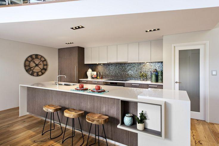Contemporary Minimalist Kitchen Design With White Sleek Waterfall Island Countertop Breakfast Bar And Modern Timber Stools Also Wood Plank Floor: Impressive Modern Beach Retreat in Australia