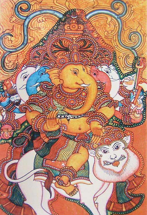 1000 images about kerala mural paintings on pinterest for Mural art of ganesha