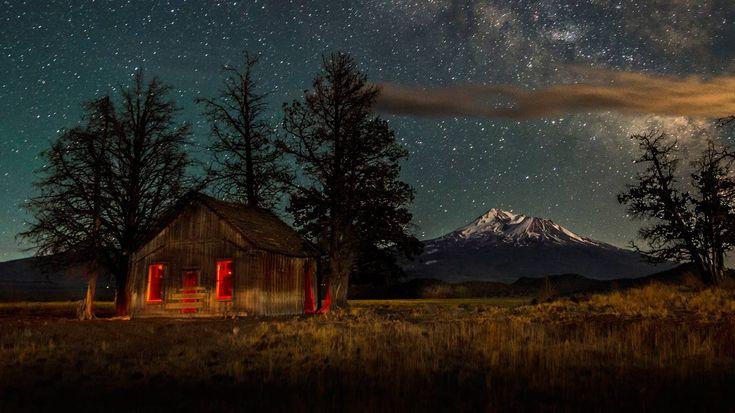 Mount Shasta, CA, under stars, from Bing dailyi wallpapers