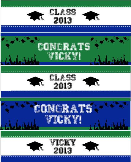 Graduation Bottle Labels Party - printable file - choose the color of your school - PDF on Etsy, $4.99