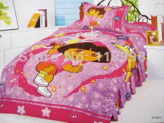Dora the explorer Children Bedding Set Single Bed Girl Cartoon Duvet Cover 3pcs set active printed twill Christmas Gifts US $55.99