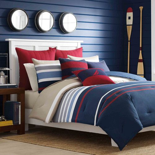 Features:  -Set includes duvet cover and 2 shams (1 sham with Twin size).  -Material: 100% Cotton.  -Bradford collection.  Product Type: -Duvet set.  Color: -Blue and red.  Pattern: -Striped.  Materia