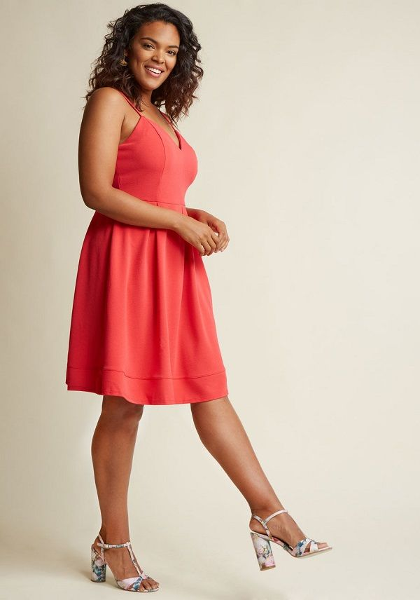 30a49676049 Plus Size Cocktail Dress in Coral - This coral dress, features a beautiful  coral colored