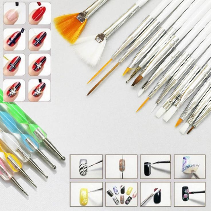 Maniküre werkzeug 20 stücke Nail art Design Set Punktierung Malerei Zeichnung Polnisch-bürsten-feder-tools