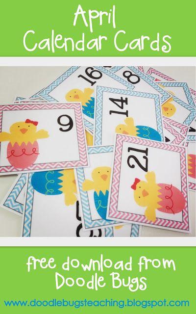 April Calendar Preschool : Best monthly calendar card numbers images on pinterest